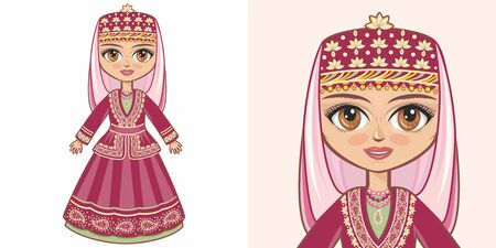 Azerbaijani girl in national costume. Design