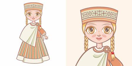 Latvian girl in national costume. Design