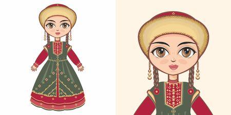 Bashkir girl in national costume. Design Illustration