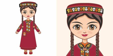 Turkmen girl in national costume. Design Illustration