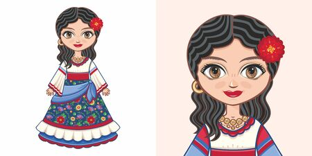 Gypsy girl in national costume. Design Illustration
