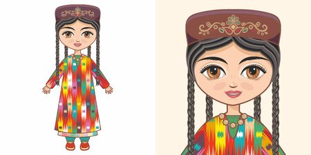 Uzbek girl in national costume. Design