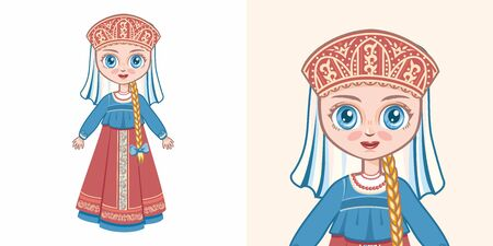 Russian girl in national costume. Design