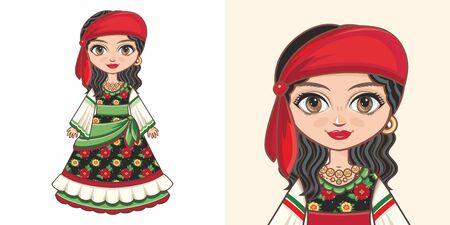 Gypsy girl in national costume. Design Illustration