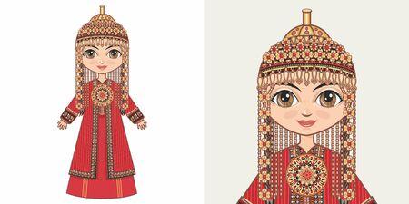 Turkmen girl in national costume. Design Illustration
