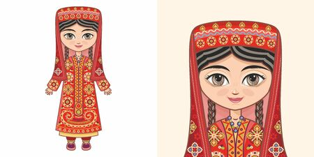 Tajik girl in national costume. Design Standard-Bild - 130249504