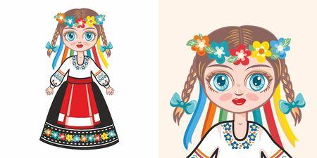 Ukrainian girl in national costume. Design