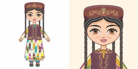 Uzbek girl in national costume. Design