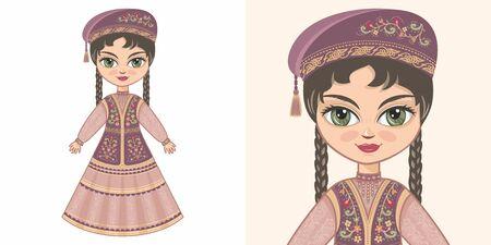 Tatarstan girl in national costume. Design