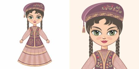 Tatarstan girl in national costume. Design