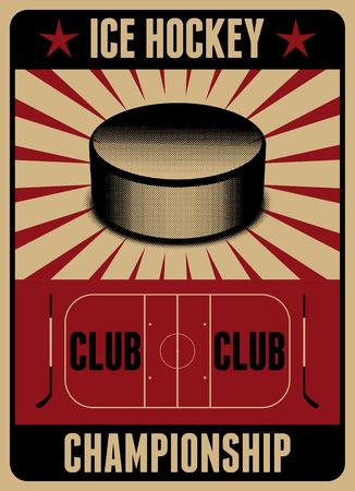 IJshockey typografische vintage stijl poster. Retro vector illustratie.