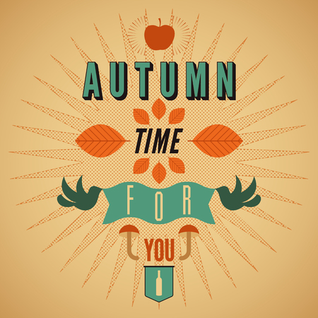 typographical: Autumn time retro poster. Vector typographical design.
