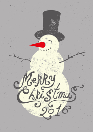 snowman hat: Calligraphic retro Christmas greeting card design with snowman. Grunge vector illustration.
