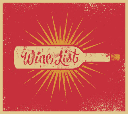 Calligraphic retro grunge style wine list design. Vector illustration. Иллюстрация
