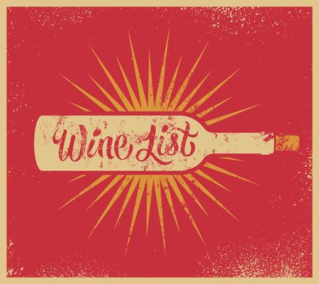 Calligraphic retro grunge style wine list design. Vector illustration. Illustration