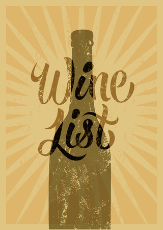 wine list: Calligraphic retro grunge style wine list design. Vector illustration. Illustration