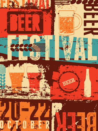retro backgrounds: Beer Festival vintage style grunge poster. Retro vector illustration.