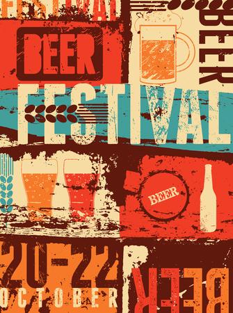Beer Festival vintage style grunge poster. Retro vector illustration.