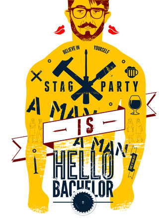 bachelor: Typographic poster for stag party Hello Bachelor! with tattooed body of a man. Vector illustration. Illustration