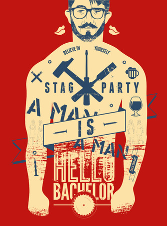 stag party: Typographic poster for stag party Hello Bachelor! with tattooed body of a man. Vector illustration. Illustration