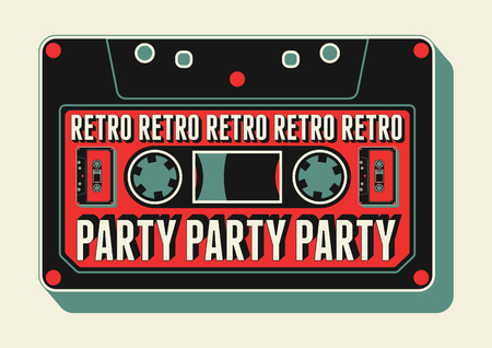retro disco: Typographic Retro Party poster design with an audio cassette. Vintage vector illustration. Illustration
