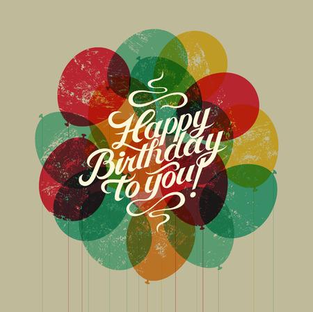 Hartelijk gefeliciteerd! Typografische retro Card grunge Verjaardag. Vector illustratie. Stock Illustratie