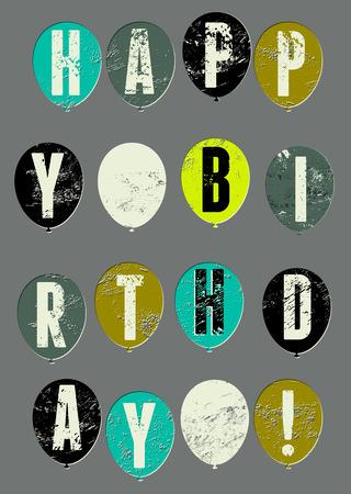 typographical: Happy Birthday! Typographical retro grunge Birthday Card. Vector illustration.