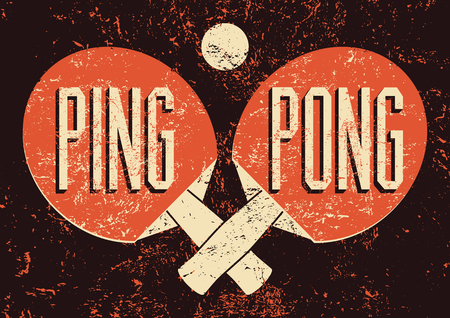 Ping Pong typographical vintage grunge style poster. Retro vector illustration. 向量圖像
