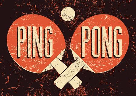 Ping Pong zetfouten vintage grunge stijl poster. Retro vector illustratie. Stock Illustratie