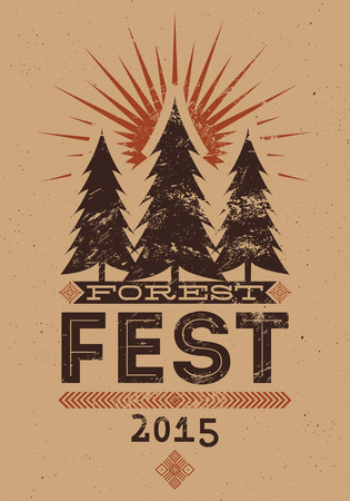 Forest Festival vintage grunge poster. Retro typographic vector illustration.
