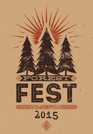 event poster: Forest Festival vintage grunge poster. Retro typographic vector illustration.