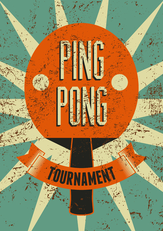 Ping Pong typographical vintage grunge style poster. Retro vector illustration. Иллюстрация