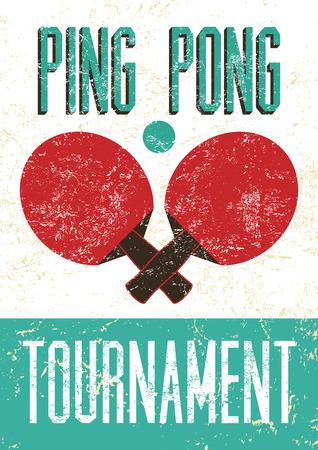 tischtennis: Ping-Pong-Satz- Vintage Grunge-Stil Plakat. Retro Vektor-Illustration. Illustration