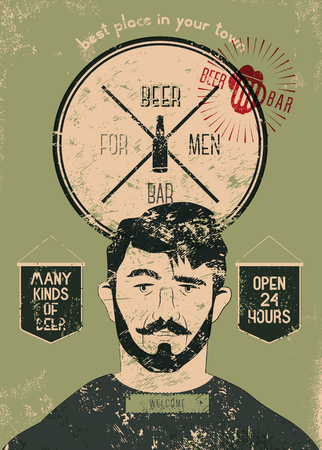 Beer Bar For Men. Vintage grunge style beer bar poster. Vector illustration. Ilustracja
