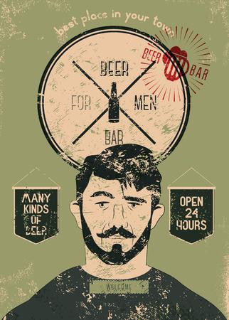 Bierbar voor mannen. De vintage poster van de bierbalk van de grunge stijl. Vector illustratie. Stock Illustratie