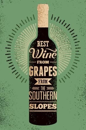 Beste wijn van druiven uit de zuidelijke hellingen. Typografische retro grunge wijn poster met het opschrift. Vector illustratie.