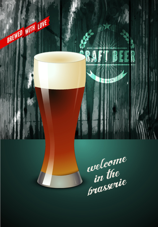 wood craft: Vintage beer poster with glass of beer. Vector illustration with wooden background. Illustration