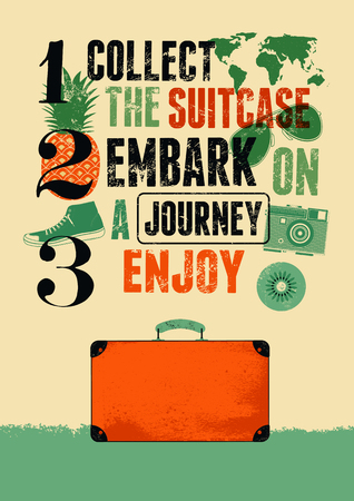 old suitcase: Typographical retro grunge travel poster with old suitcase. Vector illustration.