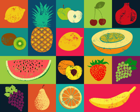 Pop Art grunge style fruit poster. Collection of retro fruits. Vintage vector set of fruits.  イラスト・ベクター素材