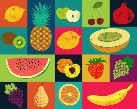 limon caricatura: Grunge del arte pop poster fruta estilo. Colección de frutas retro. Vector Vintage conjunto de las frutas.