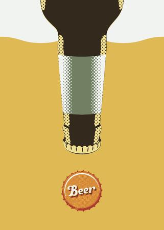birretes: Tipográfico del cartel de la cerveza del grunge retro. Ilustración del vector. Vectores