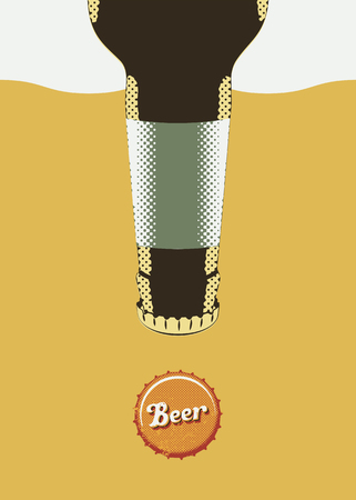 bottle cap: Typographic retro grunge beer poster. Vector illustration.