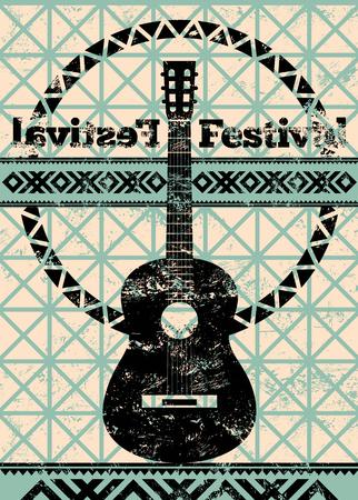 Folk festivalaffiche. Retro typografische grunge vectorillustratie. Stock Illustratie