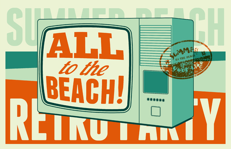 retro party: Summer beach retro party typographical poster. Vector illustration.
