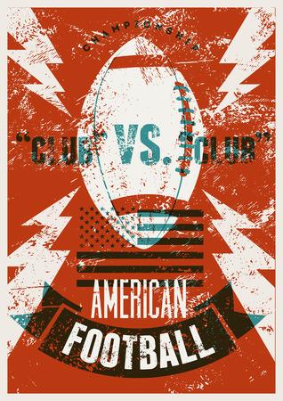 American football typografische vintage grunge stijl poster. Retro vectorillustratie.