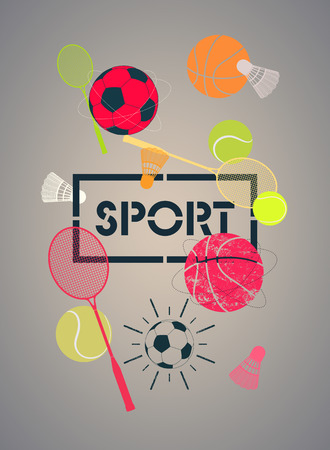 basketballs: Sport poster with basketballs, footballs, tennis balls, rackets and shuttlecocks. Vector illustration.