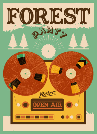 open air: Vintage open air forest party poster. Retro typographic vector illustration.
