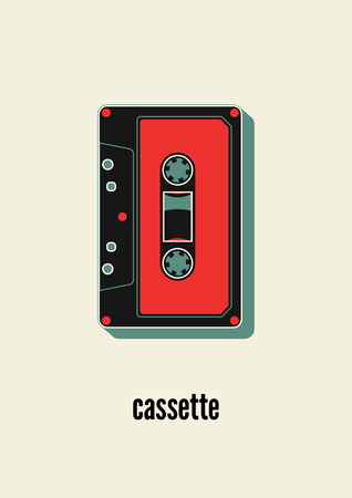 Retro poster design with an audio cassette. Vintage vector illustration. Ilustracja