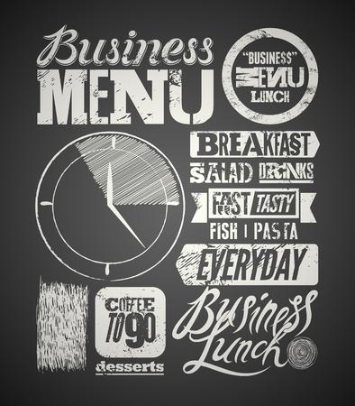 レストラン メニュー文字体裁デザイン黒板。ビンテージ ビジネス ランチのポスター。ベクトルの図。