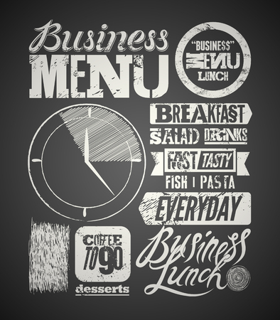 Restaurant menu typographic design on chalkboard. Vintage business lunch poster. Vector illustration.